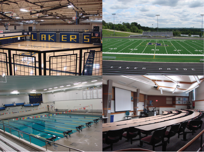 A set of four images-- top left: the high school gym, top right: the high school turf field. Bottom left: the swimming pool. Bottom right: a lecture hall.